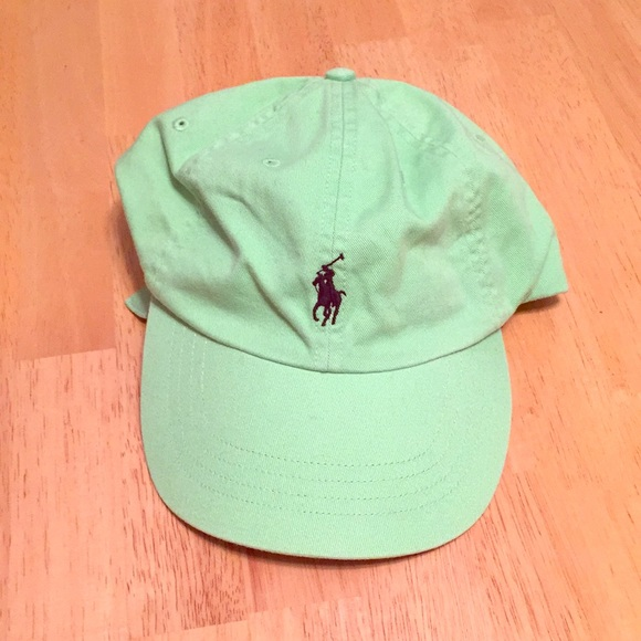 f3bb1effe1 Lime green polo hat with blue horse. M 5a5381d98290af0d1b007272